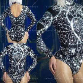 Black Crystallized Sequin Rave Leotard