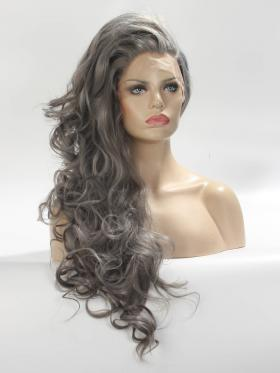 Long Gray Wavy Synthetic Lace Wig - Style - Olivia