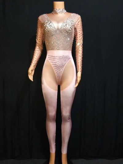 Nude and Pink Rhinestone Bodysuit