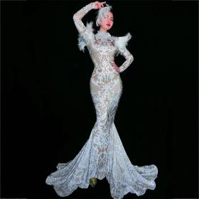 White Feather Rhinestones Nude Dress
