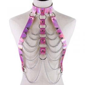 Pink Body Cage Harness Bra Laser Metal Chain Rave Costume