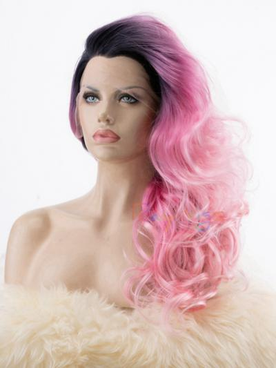 Shading Pink with Dark Root Wavy Queen Wig - Style -Olivia
