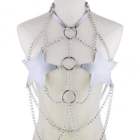 Silver Body Cage Harness Bra Metal Chain Rave Costume