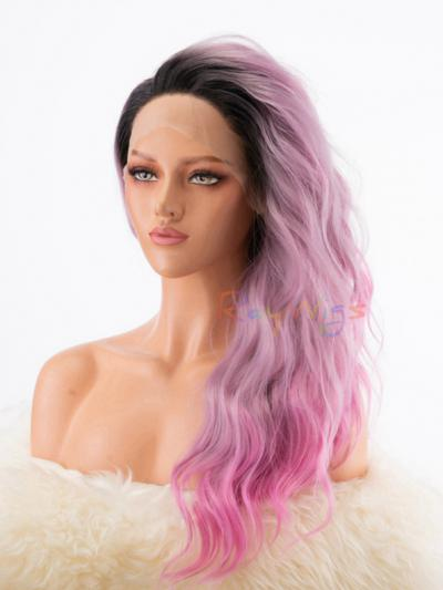 New Lavender to Pink with Dark Hair Root Synthetic Lace Wig - Style - Grace