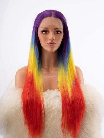 Hot Rainbow Color Drag Queen Stage Costume Wig - Style - Neon