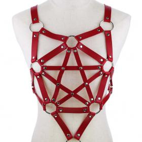 Red Harness Punk Adjustable Garter Belt Body Caged with Metal Chain Tassel