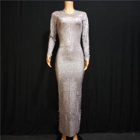 Silver Full Rhinestones Nude Dress