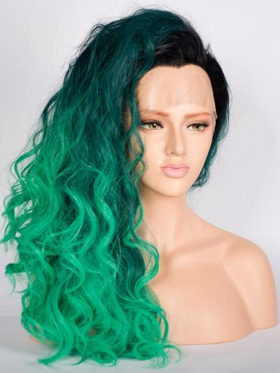 Ombre Peacock Green Mid Length Wig - Style - Grace