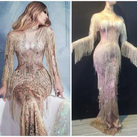 Golden Fringe Sequin Nude Maxi Dress