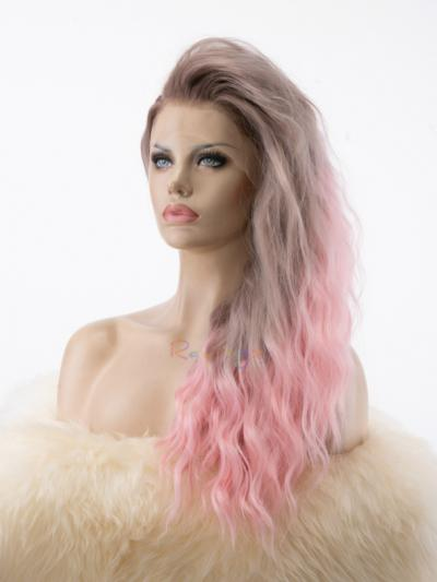 Ombre Smokey Pink Synthetic Stage Wig for Drag Race - Style - Grace