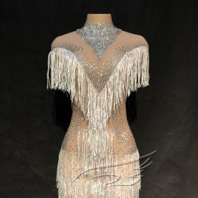 Nude Crystallized Fringed Mesh Dress