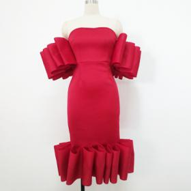Plus Size Red Ruffle Dress