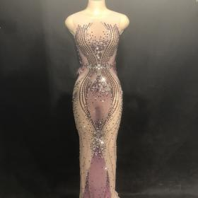 Nude Rhinestones Gown Dress