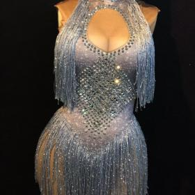Blue Crystal Disco Leotard