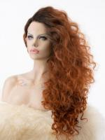 Ombre Reddish Brown Curly Wig for Drag Race - Style -Trinity