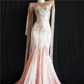 Pink Nude Fringe Maxi Dress