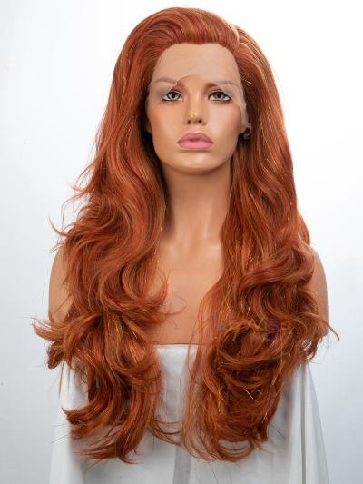 Blonde Tinsel Mixed Reddish Brown Synthetic Lace Front Wig