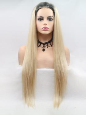 Blonde With Dark Root Long Straight Wig
