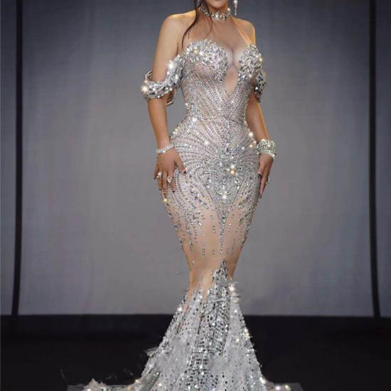 Silver Rhinestones Off Shoulder Gown