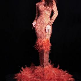 Orange Rhinestones Feather Dress