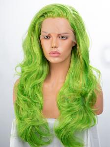 Green  Tinsel Color Mixed Synthetic Lace Front Wig
