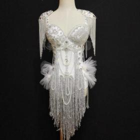 White Fringed Crystallized Epaulette Leotard