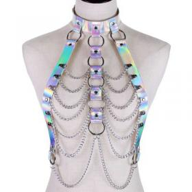 Silver Body Cage Harness Bra Laser Metal Chain Rave Costume