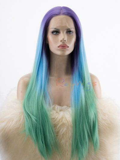 Purple to Blue to Green Hip Length Straight Drag Wig - Style - Neon