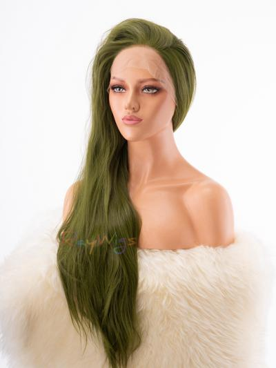 Army Green Long Straight Drag Wig - Style - Neon
