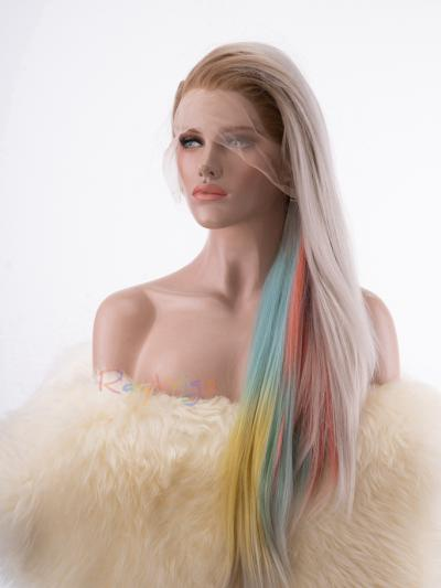 Waist to Hip Length Drag Wig with Straight Hidden Unicorn Color with Blonde Overylay - Style - Neon