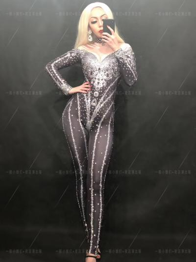 Black&Silver Crystallized Nude Bodysuit