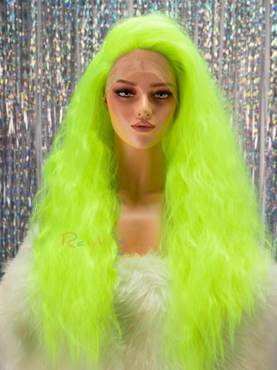 Fluorescence Green Color Drag Queen Stage Wig - Style - Sophia