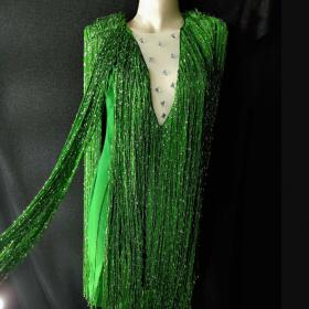 Green Long Fringe Crystallized Dress