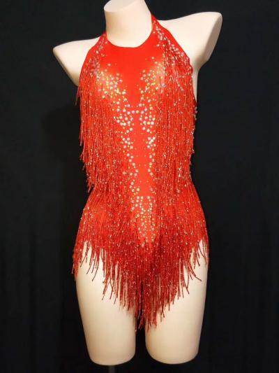 Red Crystal Disco Leotard